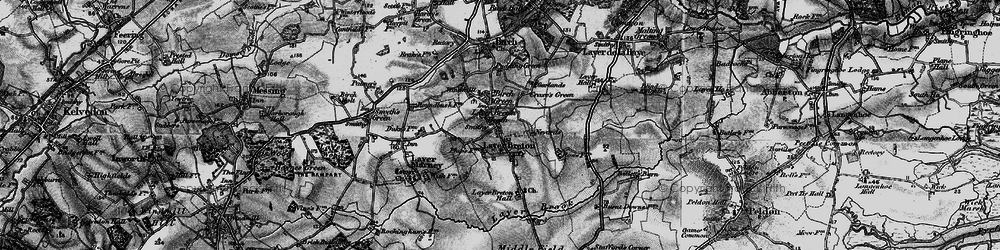 Old map of Layer Breton Hall in 1896