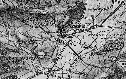 Old map of Bishop's Castle in 1899