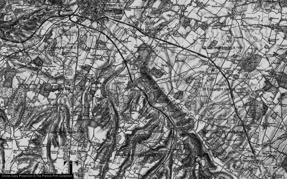 Old Map of Bishopsbourne, 1895 in 1895