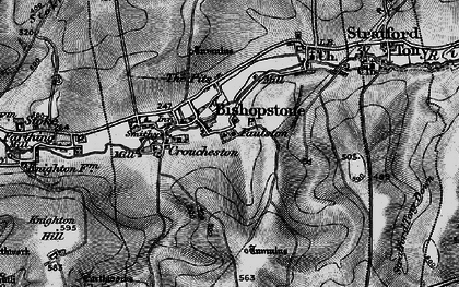 Old map of Bishopstone in 1895