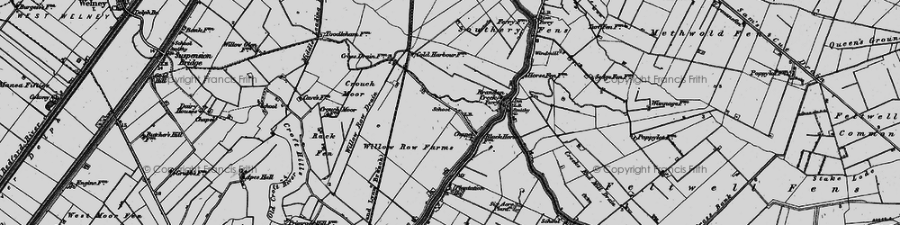 Old map of Willow Row Drain in 1898