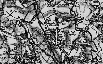 Old map of Bloxwich in 1899