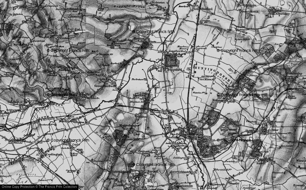 Old Map of Blunham, 1896 in 1896