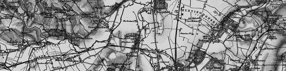 Old map of Blunham in 1896