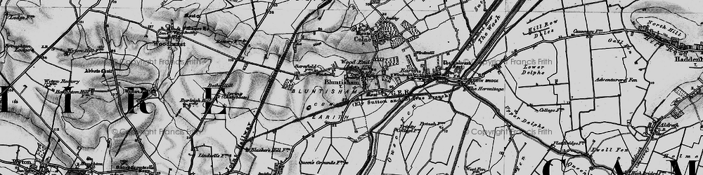 Old map of Bluntisham in 1898