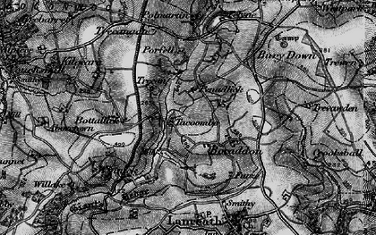 Old map of Bocaddon in 1896