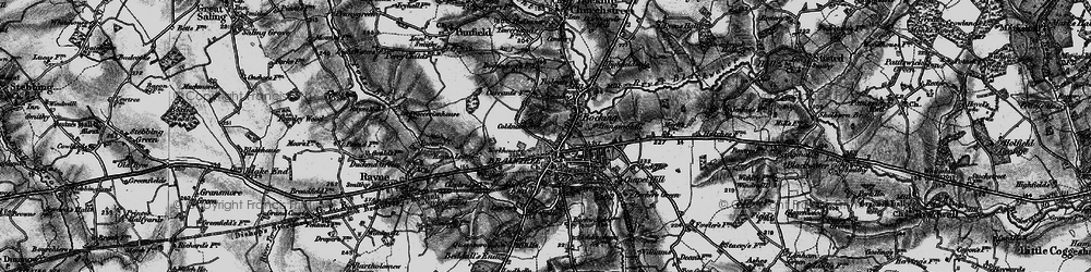 Old map of Bocking in 1896