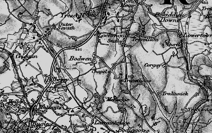 Old map of Bodwen in 1895