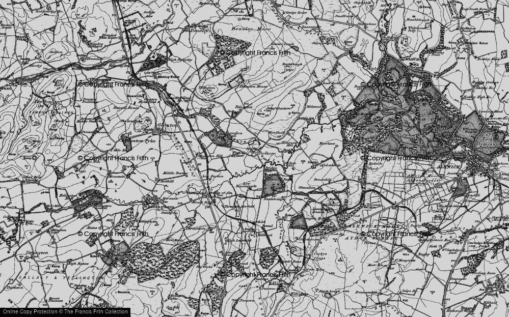 Old Map of Historic Map covering Abberwick Village in 1897