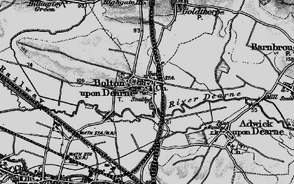 Old map of Bolton Upon Dearne in 1896