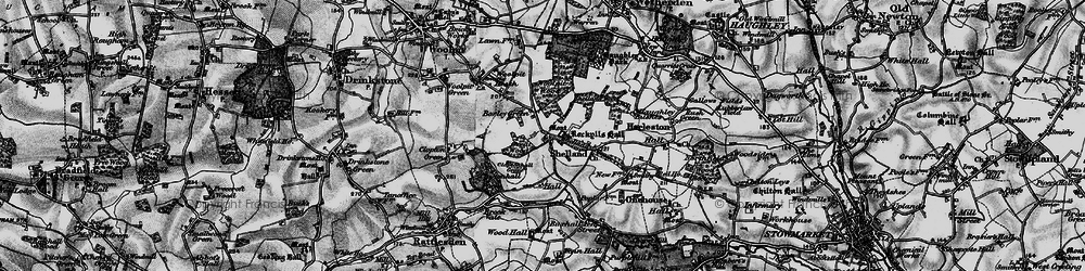 Old map of Woolpit Wood in 1898