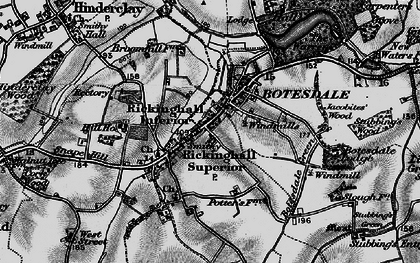 Old map of Botesdale in 1898