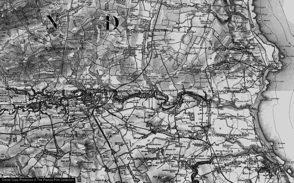 Old Map of Historic Map covering Whitefield in 1897