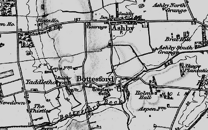 Old map of Bottesford in 1895