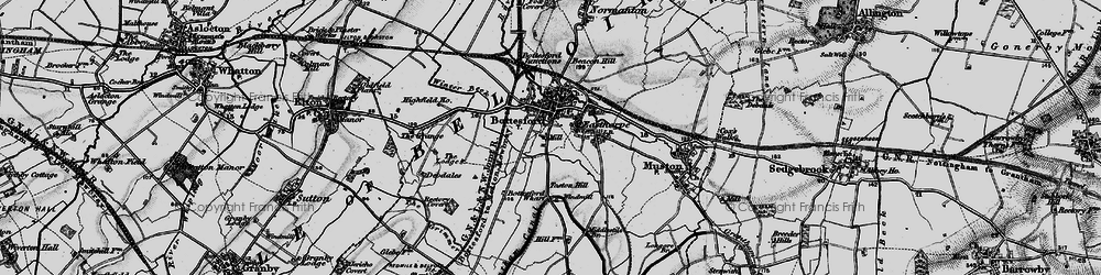 Old map of Bottesford in 1899