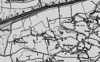 Old map of Bottom of Hutton in 1896