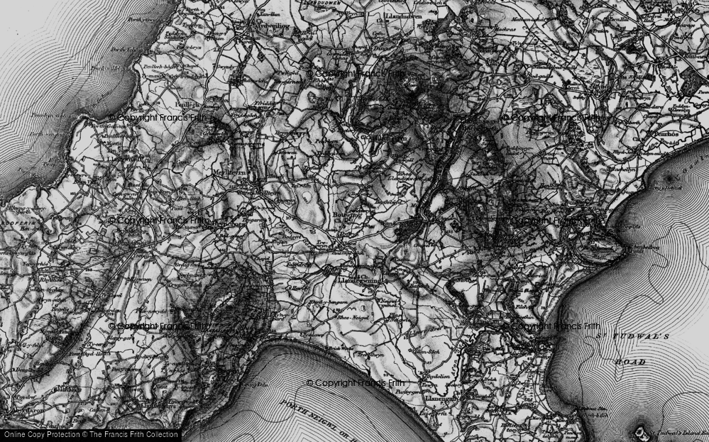 Old Map of Historic Map covering Llandegwning in 1898