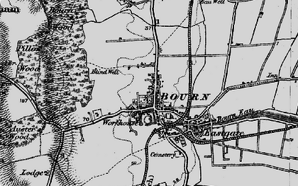 Old map of Bourne in 1895