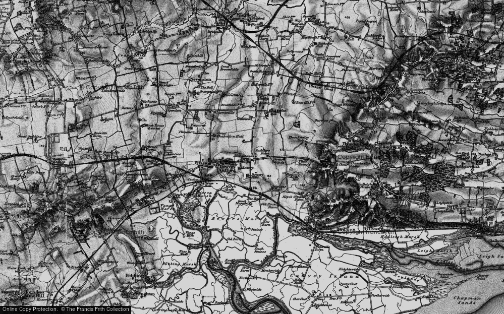 Old Map of Bowers Gifford, 1896 in 1896