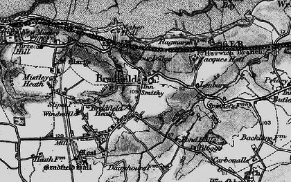 Old map of Bradfield in 1896