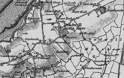 Old map of Bradwell on Sea in 1895