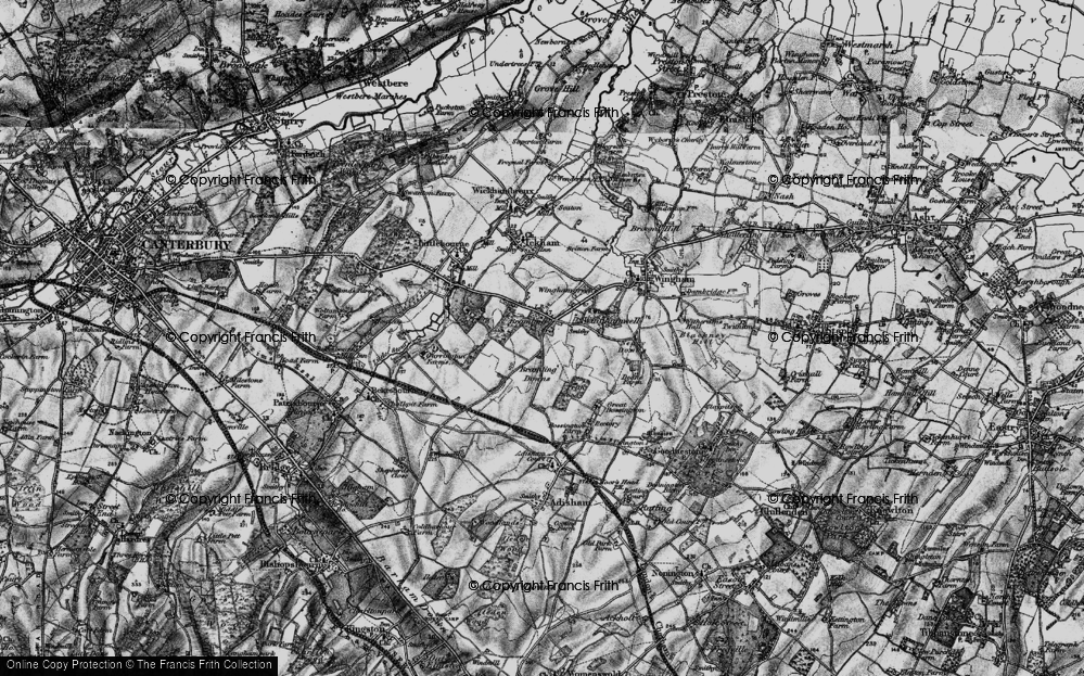 Old Map of Historic Map covering Lee Priory in 1895