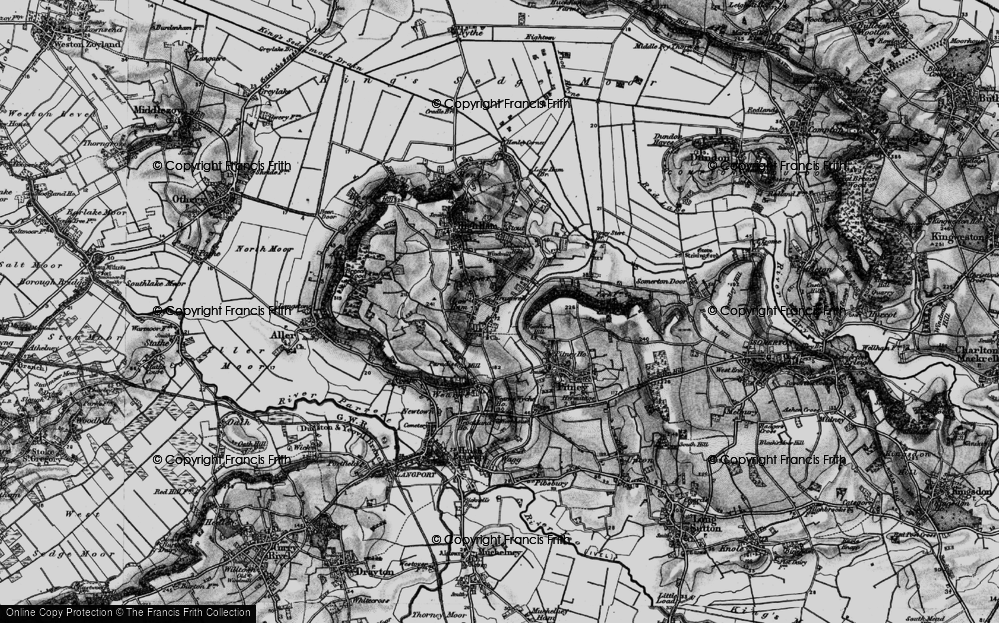 Old Map of Historic Map covering Woodbirds Hill in 1898