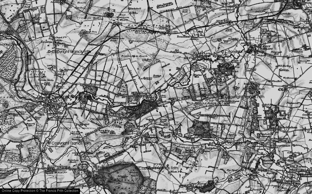 Old Map of Historic Map covering Langmere Boxes in 1898