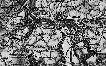 Old map of Afon Piliau in 1898
