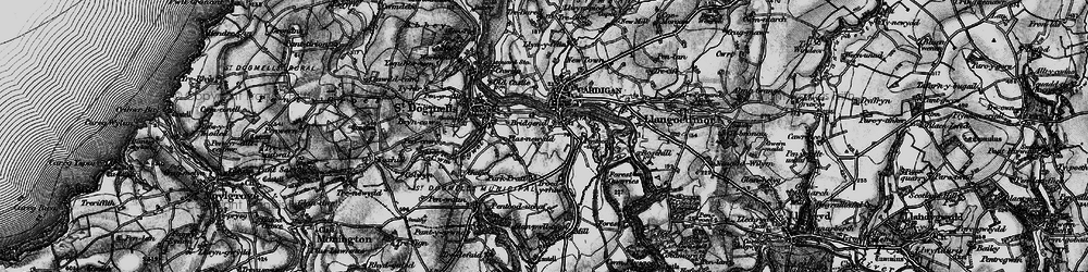 Old map of Afon Piliau in 1898
