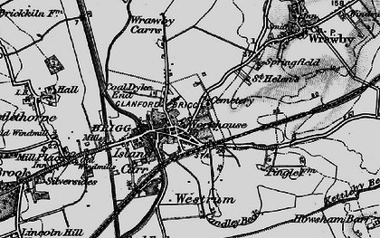 Old map of Wrawby Carrs in 1895