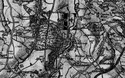 Old map of Abbeyford Woods in 1898