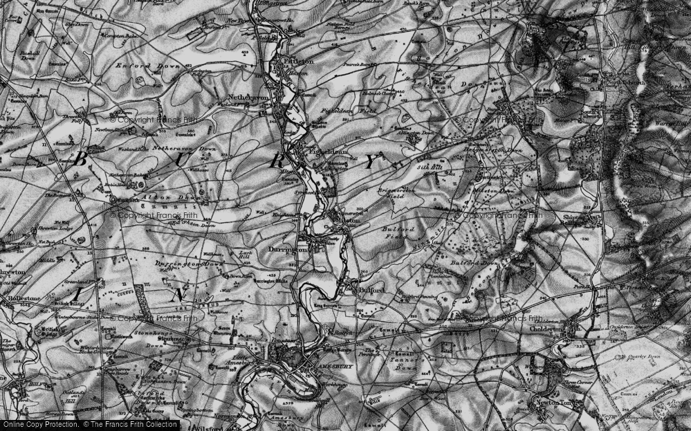 Old Map of Historic Map covering Ablington Down in 1898