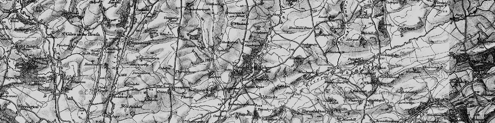Old map of Broadwoodwidger in 1895