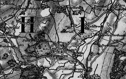 Old map of Bronllys in 1896