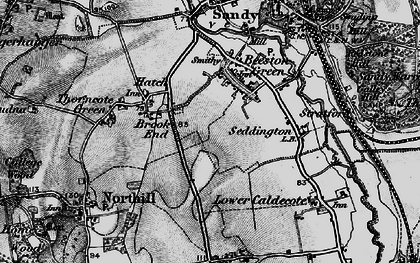 Old map of Brook End in 1896