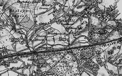 Old map of Brookwood in 1896