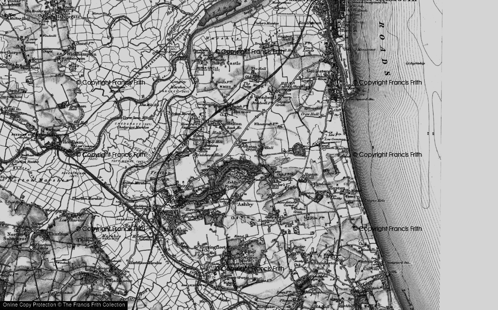 Old Map of Historic Map covering Ashby Warren in 1898
