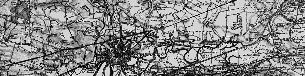 Old map of Bruche in 1896