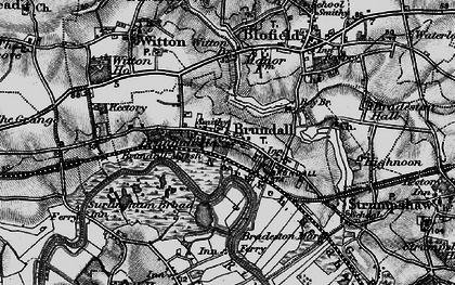 Old map of Brundall in 1898