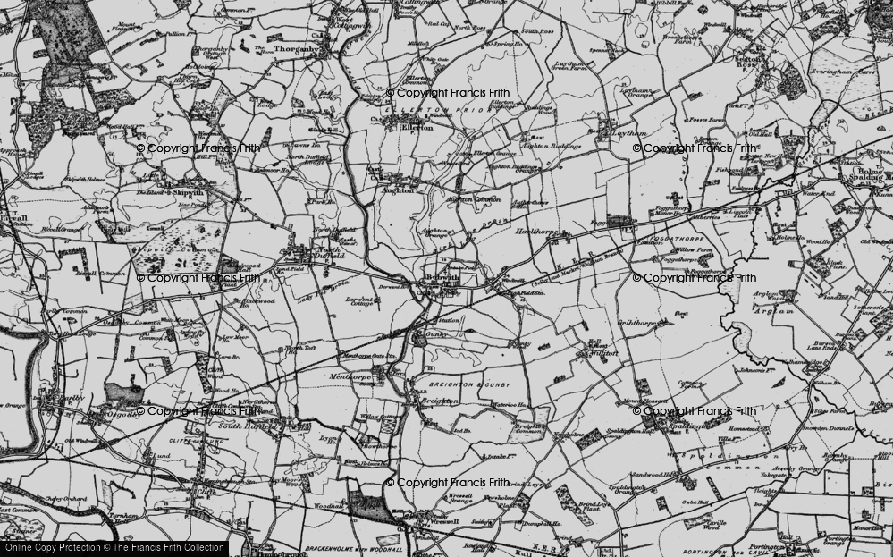 Old Map of Historic Map covering Aughton Grange in 1898