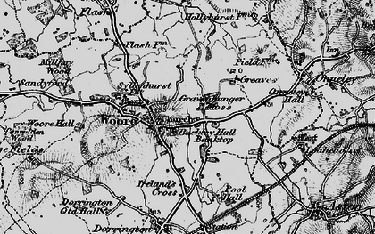 Old map of Woore Hall in 1897
