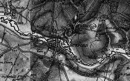 Old map of Burford in 1896