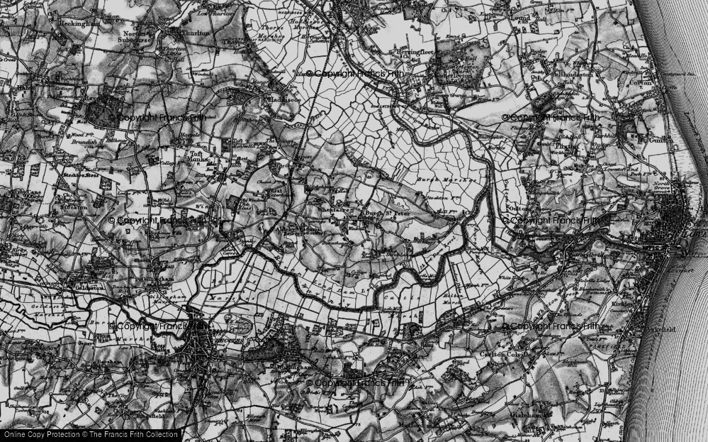 Old Map of Historic Map covering Wheatacre Marshes in 1898