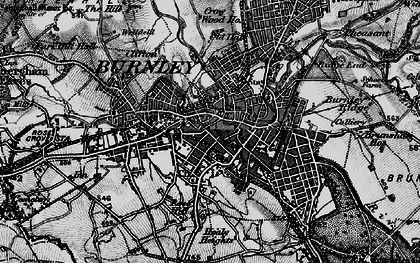 Old map of Burnley in 1896