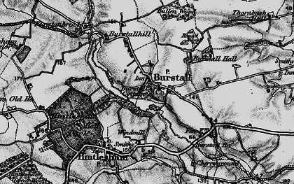 Old map of Burstall in 1896