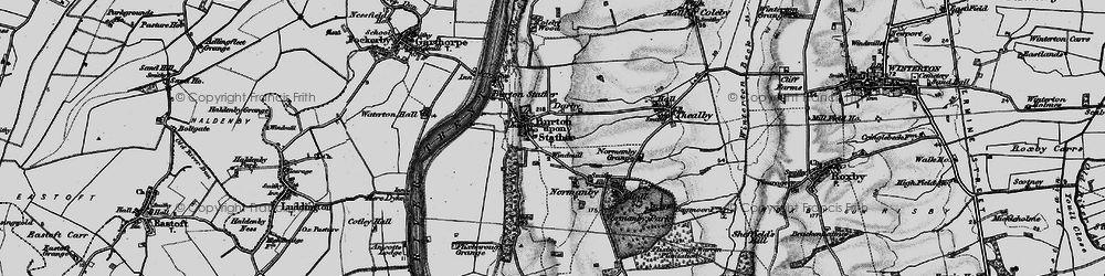 Old map of Burton upon Stather in 1895