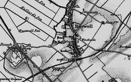 Old map of Burwell in 1898