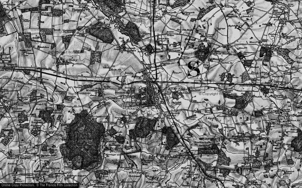 Old Map of Bury St Edmunds, 1898 in 1898