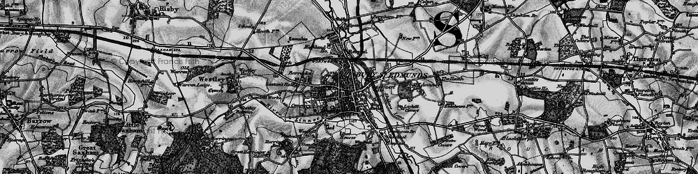 Old map of Bury St Edmunds in 1898